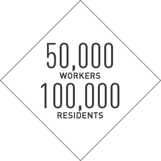50,000 workers, 100,000 residents